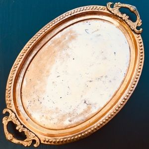 Ornate Oval Copper Tray Platter with Handles